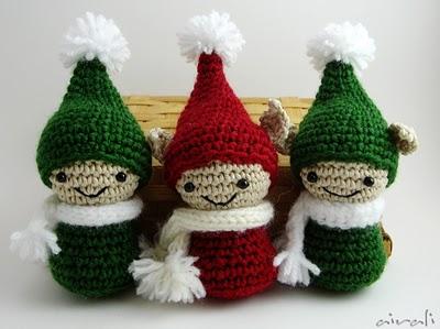 Tris di sfere natalizie Babbo Natale-Elfo-Pupazzo di neve crochet ... | 299x400